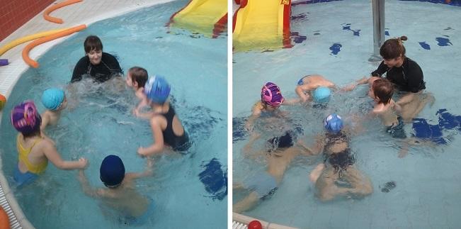 Hop hop i pod wodę - trzymając się za ręce i asekurując wzajemnie.